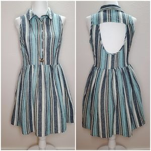 Ark & Co Blue Linen High Neck Mini Dress sz M